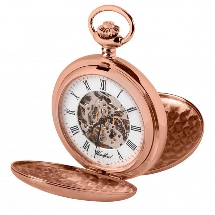 Rose Gold Striped Double hunter Pocket Watch