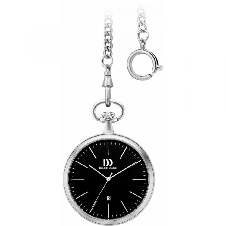 Black Face Chrome Plated Pocket Watch with Chain