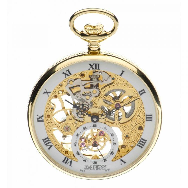 Gold Toned Open Face Mechanical Pocket Watch