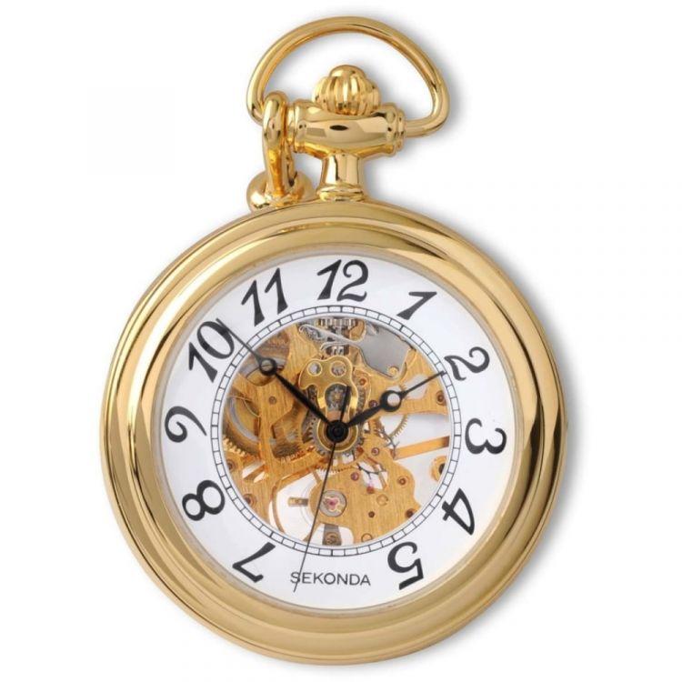 Mens Gold Plated Open Face Mechanical Pocket Watch