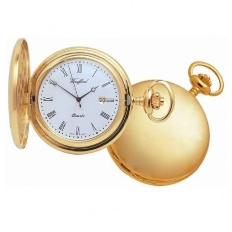 Gold Plated Quartz Full Hunter Pocket Watch