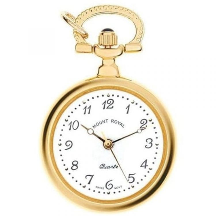 Gold Tone Open Faced Quartz Pendant Necklace Watch With Arabic Indexes