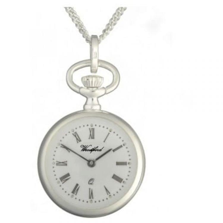 Sterling Silver Open Face Pendant Necklace Watch