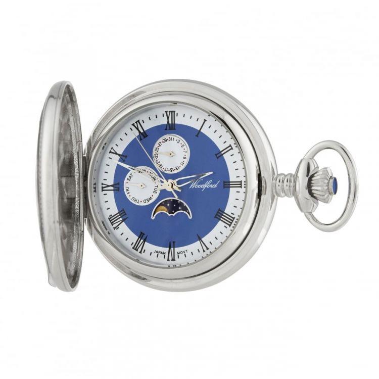 Chrome Plated Half Hunter Moondial Pocket Watch