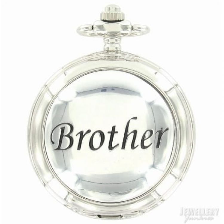 Brother Full Hunter Chrome Pewter Quartz Pocket Watch