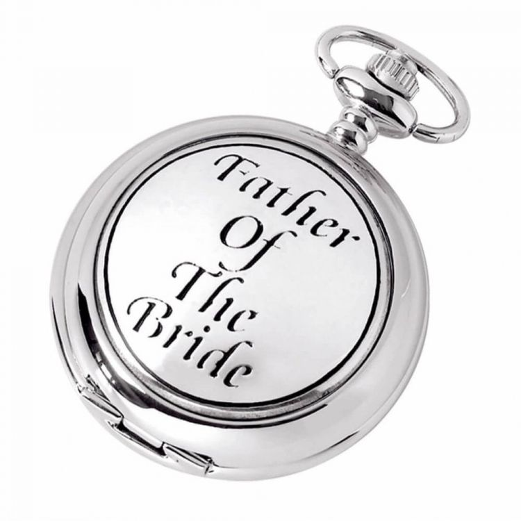 Father Of The Bride Quartz Full Hunter Chrome/Pewter Pocket Watch