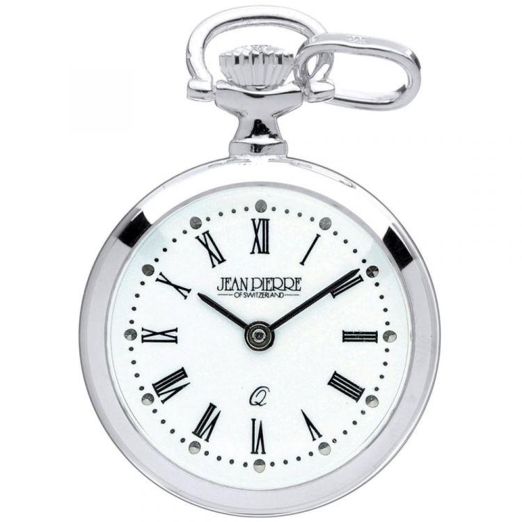 Sterling Silver Open Face Quartz Roman Numeral Pendant Necklace Watch