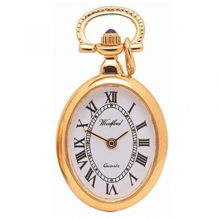 Gold Plated Open Face Quartz Pendant Necklace Watch