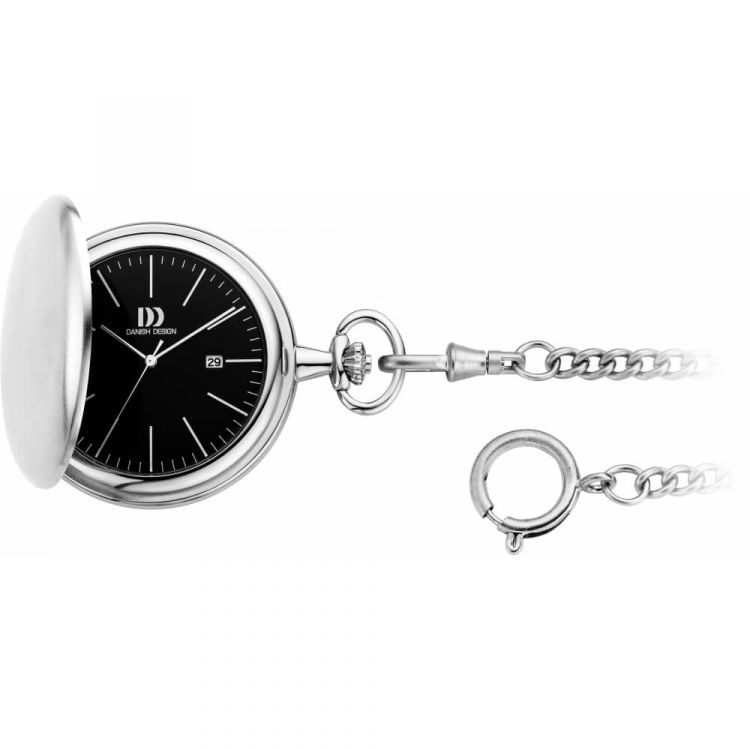 Brushed Chrome Full Hunter Pocket Watch And Chain with Black Face