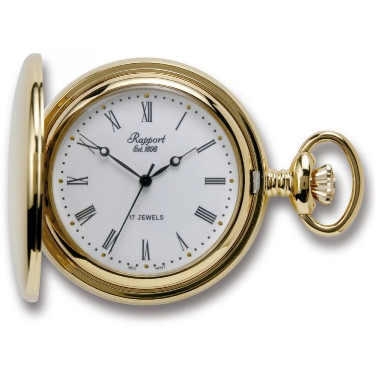 Gold Tone Full Hunter Mechanical Pocket Watch
