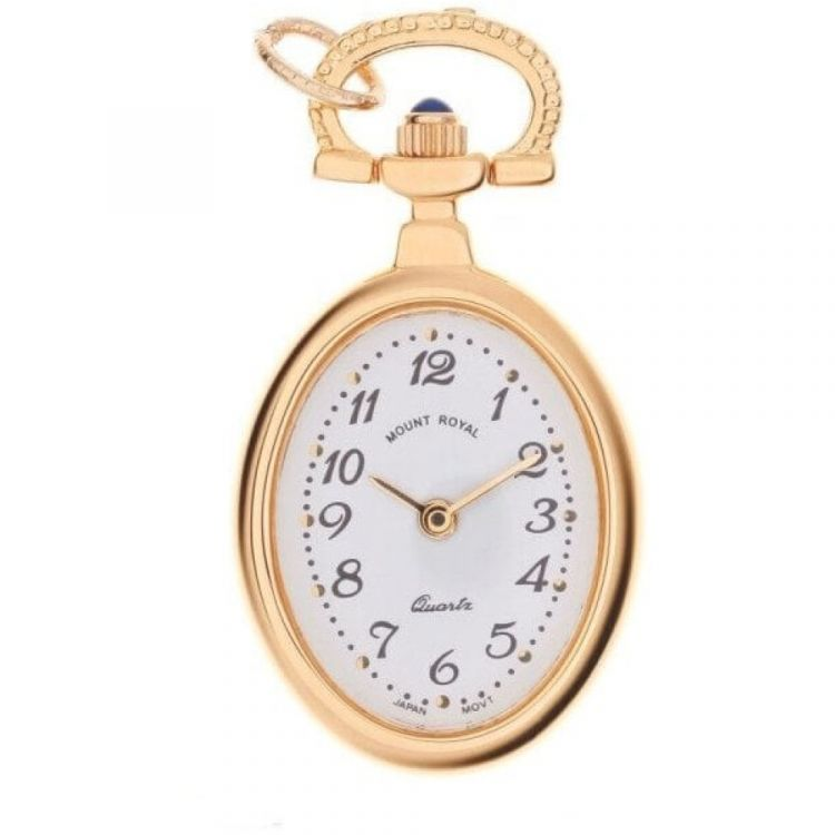 Gold Tone Open Face Quartz Oval Pendant Necklace Watch With Arabic Indexes